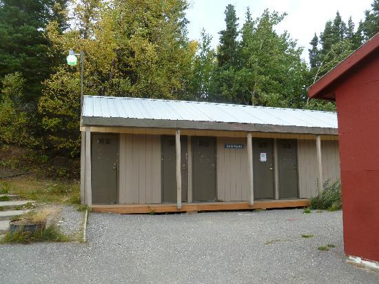 McKinley RV Park and Campground: Lower level bathrooms (notice one is out of order)