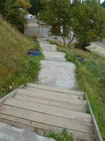 McKinley RV Park and Campground: Cement steps no railing