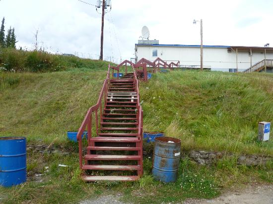 McKinley RV Park and Campground: Wooden steps with garbage cans