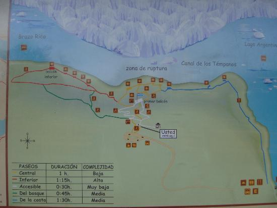 Map of the walkways - Picture of Perito Moreno Glacier ...