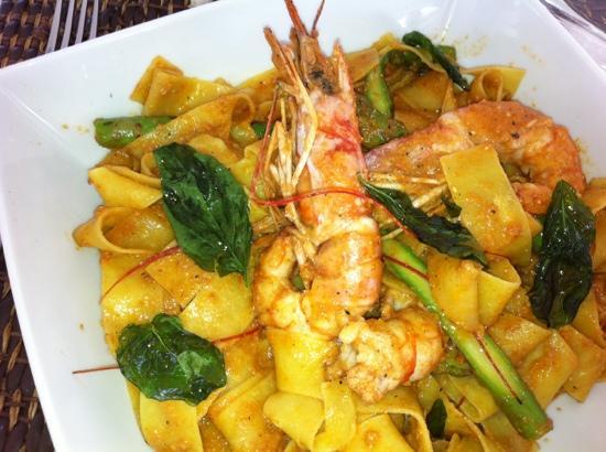 Purobeach : pasta con gamberoni