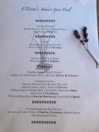 E'Terra: Our lovely dinner menu - the food tastes fresh and full of flavor