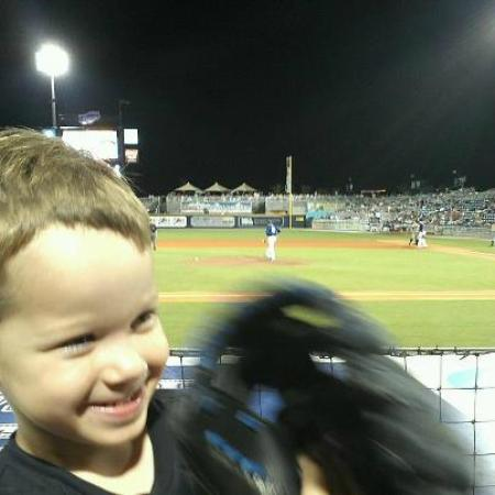 Blue Wahoos Ballpark: My grandson at the Wahoos game with me