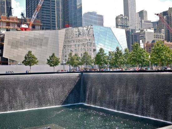 The north pool with the unfinished museum in the - Ground zero pools ...