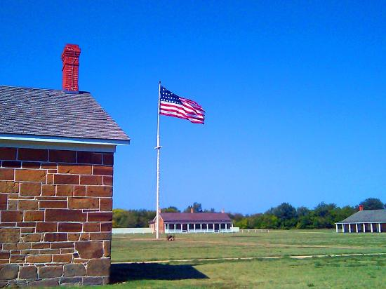 Fort Larned National Historic Site: The flag flying at Fort Larned taken on Labor Day weekend, 2012.