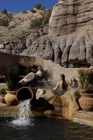 Ojo Caliente, NM: Cliffside Pools filled with iron and arsenic healing mineral waters.