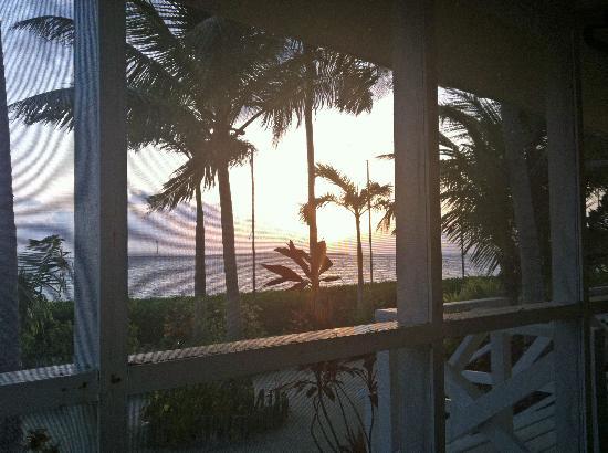 Turneffe Island Resort: Morning coffee on the porch at sunrise