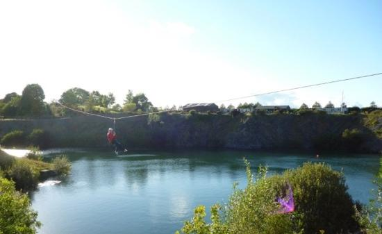 Ballyhass Lakes Activity Centre & Fishing : zip line across the clear water