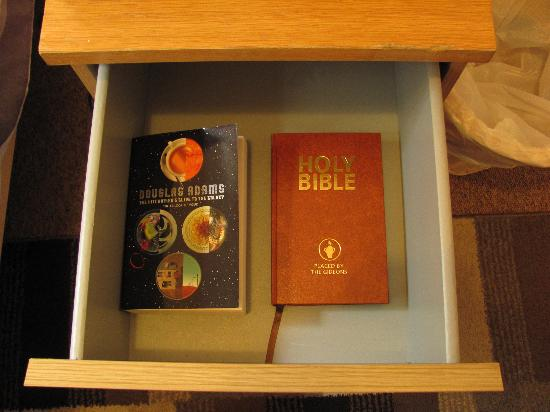 Townhouse: Hitchhiker's Guide to the Galaxy compendium in the bedside drawer