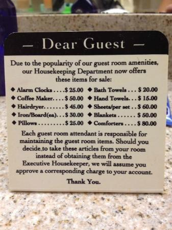 Clarion Suites : Found in Bathroom on a card.  As if!