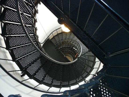 Yaquina Head Outstanding Natural Area: Iron staircase inside the lighthouse