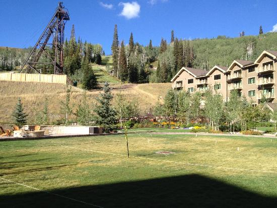 Montage Deer Valley: back view of hotel grounds with games and fire pits for the cool evenings!