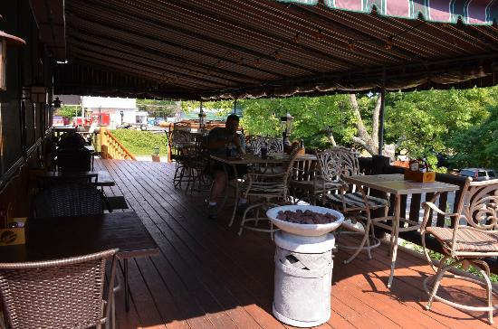 The Barnsider Smokehouse BBQ: One of the dining porches