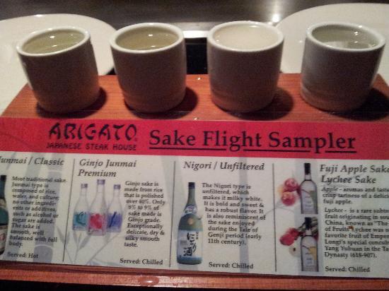 Arigato Japanese Steak House: sake sampler- good choice for newcomers