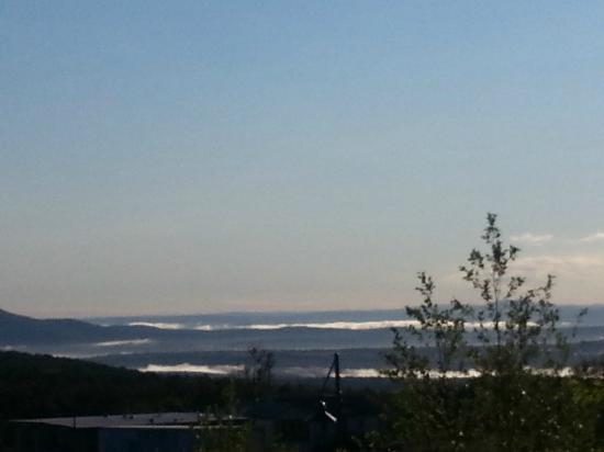 Jay Peak Resort: View from the main hotel - morning fog