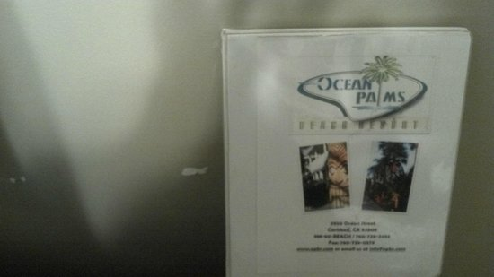 Ocean Palms Beach Resort: Missing paint and there idea of a pamphlet