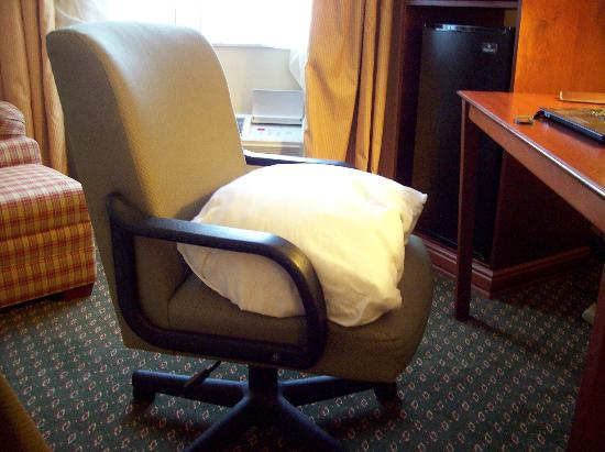 Quality Inn & Suites: Could not adjust chair, used pillow.