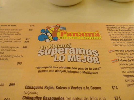 Panama Menu