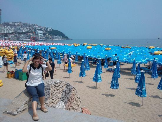 Haeundae Beach: blue umbrellas