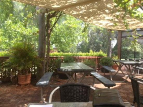 Houghton Cafe: Shaded Vinecourt with mister cooling system