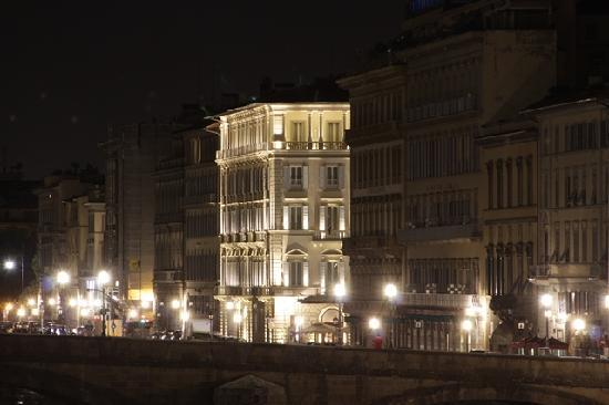 The St. Regis Florence : Hotel`s night view from Ponte Vecchio