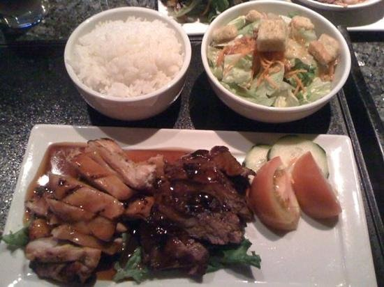 Kabuki Japanese Restaurant: chicken and beef teriyaki with rice and side salad