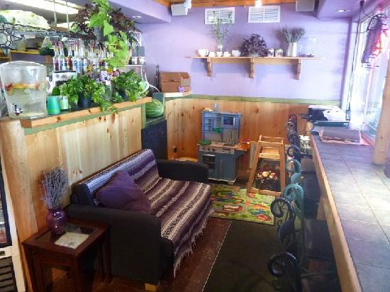 Simple Bliss Vegan Cafe: snuggle up our new couch as you enjoy your latte or watch the birds outside from our bar as you