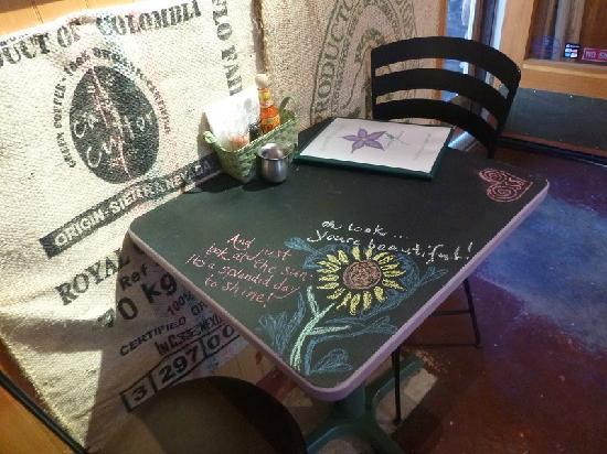 Simple Bliss Vegan Cafe: One of many great designs left for us on our awesome chalkboard tables.