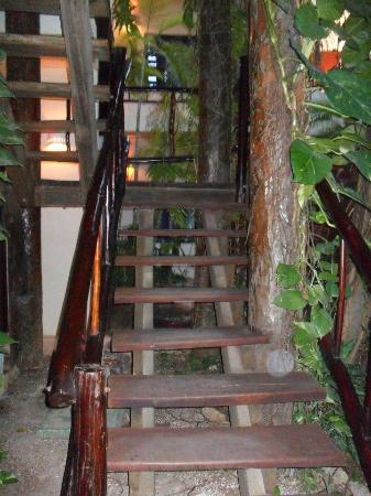 Kinbe Hotel: stairs leading to garden room. No elevators so be prepared.