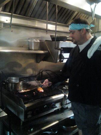 Skaliwag's: Chef Chris in the galley, sauteeing up our appetizer