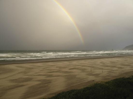 Morning rainbow on Cannon Beach