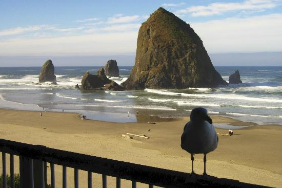 Hallmark Resort Cannon Beach: View from our room to Haystack Rock