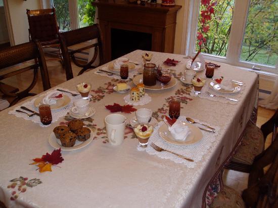 Gîte Forestier De La Riviére Saguay : De copieux déjeuners avec thématique.