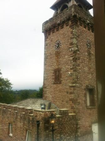 Irton Hall B&B: A view of the Clock Tower from our room top marks for scenery. shame there is a CCTV camera but