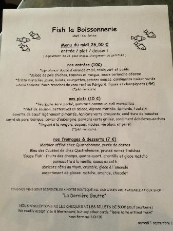 557f2a8db1f Le menu du 01/09/2012, hum yummi! - Picture of Fish La Boissonnerie, Paris  - TripAdvisor