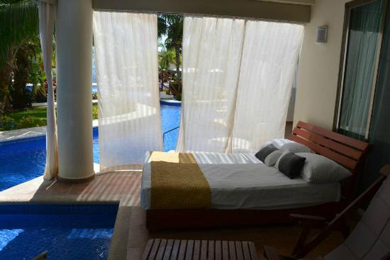 El Dorado Maroma, by Karisma: Our room, swim-up with day bed.