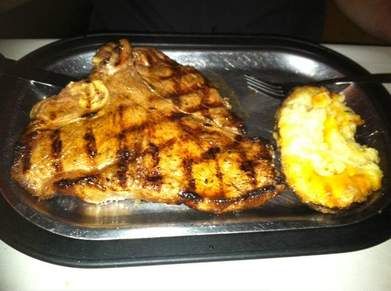 Jack & Rosie's Steakhouse: Porterhouse with twice-baked potato that I already started digging into...mmm