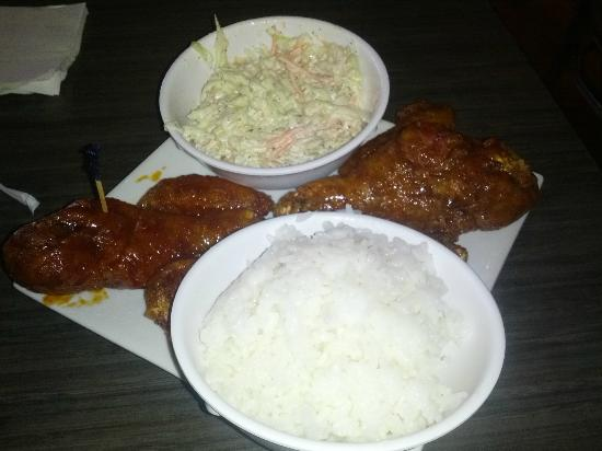 BonChon Chicken : Chicken with rice and coleslaw