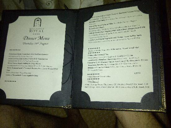 Killarney Royal: Room service menu for the dinner meal included in our booking.