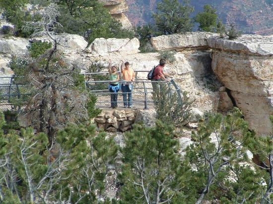 Grand Canyon Lodge - North Rim : View of my family from where the restaurant patio is