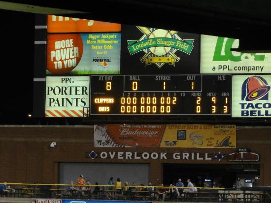 Louisville Slugger Field: Scoreboard on the night of August 28, 2012