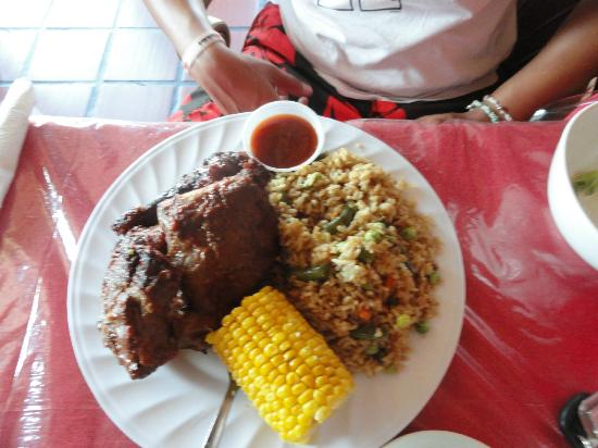 Hot Take Away: BBQ plate with rice and corn! Baked beans in other photo:D