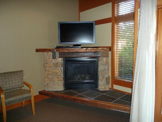Willows Lodge: Great corner fireplace and tv with movie selection if you desire