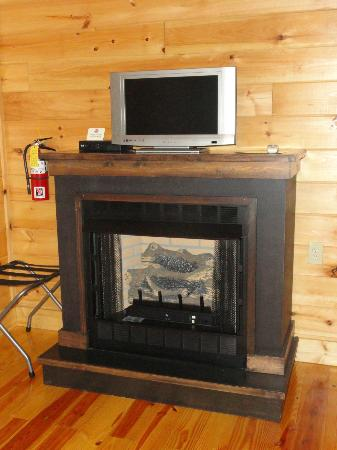 The Lodge At Tellico: fireplace and tv in the room