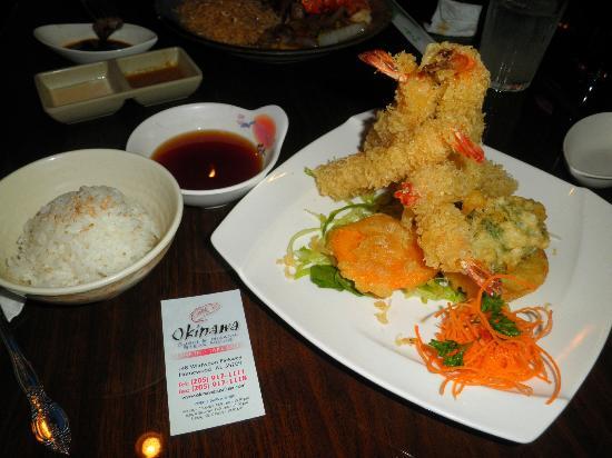 Okinawa: shrimp tempura and tempura vegetables