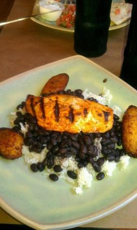 Cafe America: salmon over rice and beans