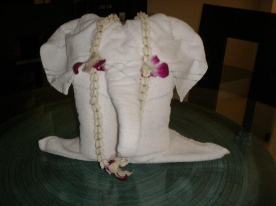 "Marriott's Mai Khao Beach - Phuket: The very creative ""elephant"" made of folded kitchen towels"
