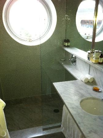 The Maritime Hotel: Bathroom window and shower.