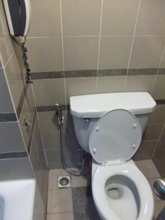 Federal Hotel: Water hose beside the toilet bowl in bathroom