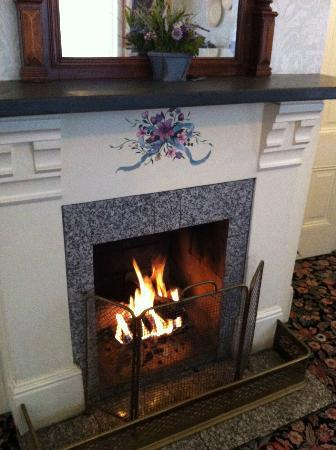 Gosby House Inn - A Four Sisters Inn : Warm & toasty fireplace in the parlor to keep warm